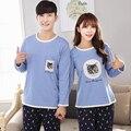 2017 Новый Хлопка С Длинными Рукавами Пижамы Для Пары Синий Цвет Случайный Пижамы Наборы Cat Pattern-5083