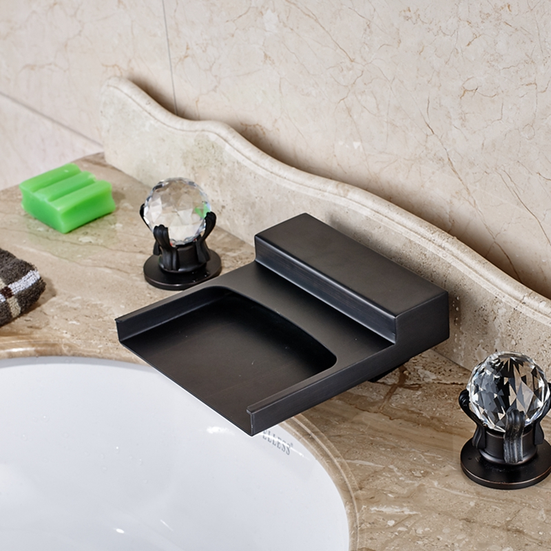 Oil Rubbed Bronze Waterfall Spout Bathroom Basin Faucet Crystal Handle Mixer Tap oil rubbed bronze waterfall spout bathroom 8 basin faucet dual handle mixer tap