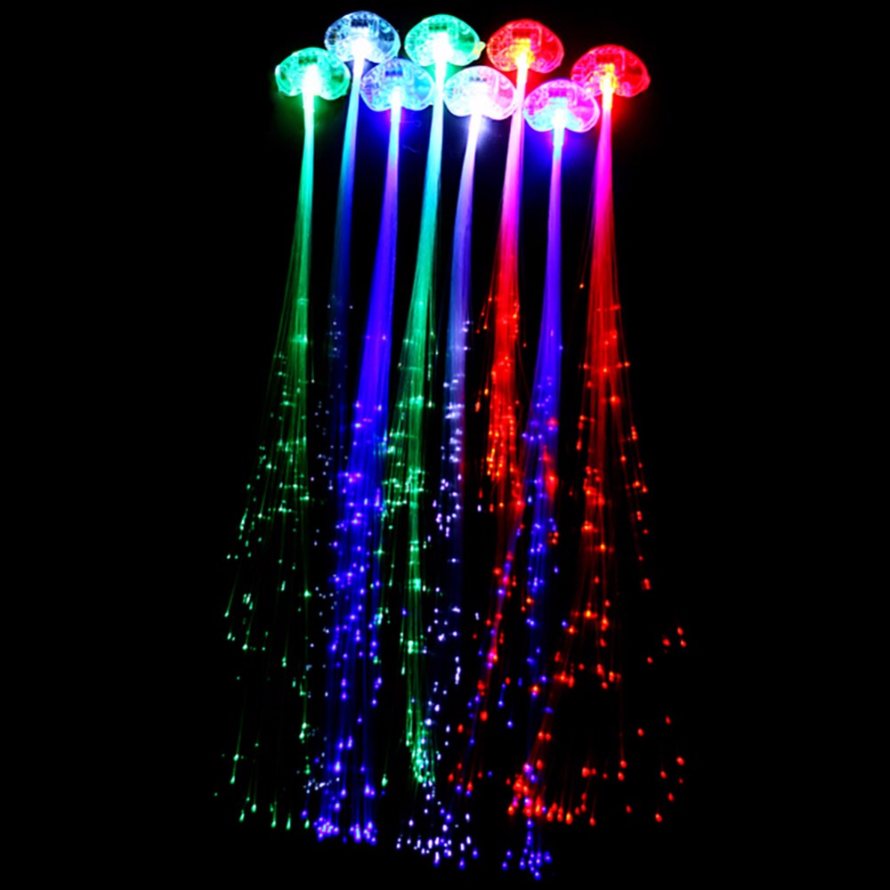 Christmas party Novelty Decor Hair Extension by optical fiber Led Light Braid Halloween Party Toys