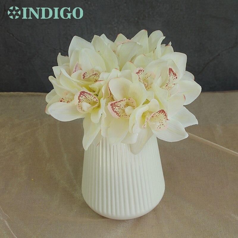 5 հատ Mini Mini Cymbidium Orchids Bouquet Իրական Հպում - Տոնական պարագաներ
