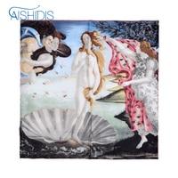 Women Bandana Natural Silk Vintage Shawl Poncho Summer Scarf Square Size Famous Works Sandro Botticelli's The Birth of Venus