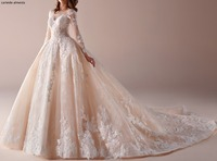 Vestido de noiva Ivory Champagne Luxury Lace Wedding Dress Royal Train Bride Dress Long Sleeves Abiti da sposa