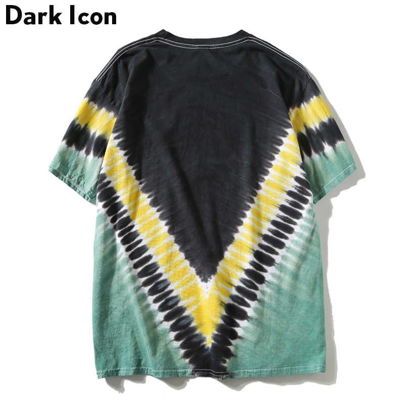 ダークアイコンタイダイ Tシャツ男性女性 2019 夏クルーネック幾何男性の Tシャツストリート Tシャツの男性トップ綿