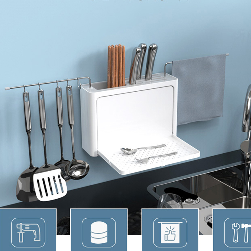 Image 3 - Cutlery Drainer with Easy Drain Spout Kitchen Storage Organizer Fork Knife Holder Spoon Chopsticks Filter Rack Knife Rack tools-in Racks & Holders from Home & Garden
