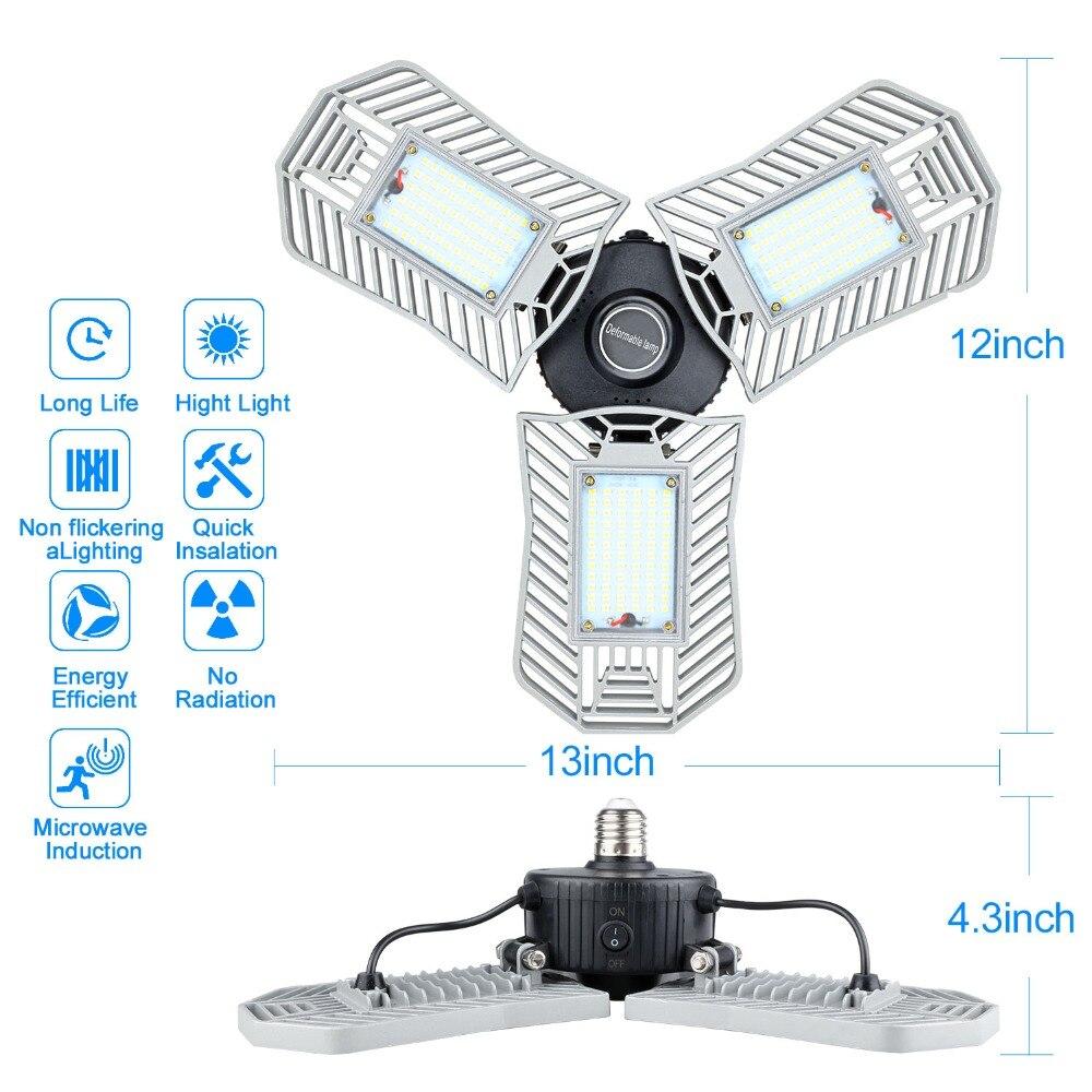 80W E27 Upgraded Led Deformable Lamp Garage light LED Corn Bulb Radar Home Lighting High Intensity 8000 lum