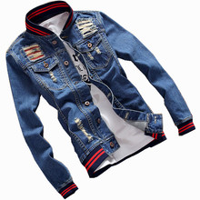 2018 Men s Denim Jacket high quality fashion Military Army Bomber Jeans Jackets casual streetwear Vintage