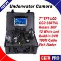 100 m de Cabo Pesca Submarina Camera 7 polegada LCD a Cores de Sistema de Gravação de Vídeo DVR Inventor Dos Peixes Câmera Girar 360 Graus