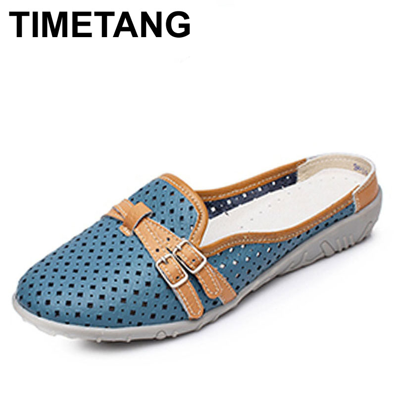 TIMETANG Genuine Leather Flats Women Slingbacks Slippers Shoes Summer Casual Wide Round Toe Loafers Women Moccasins Sandals