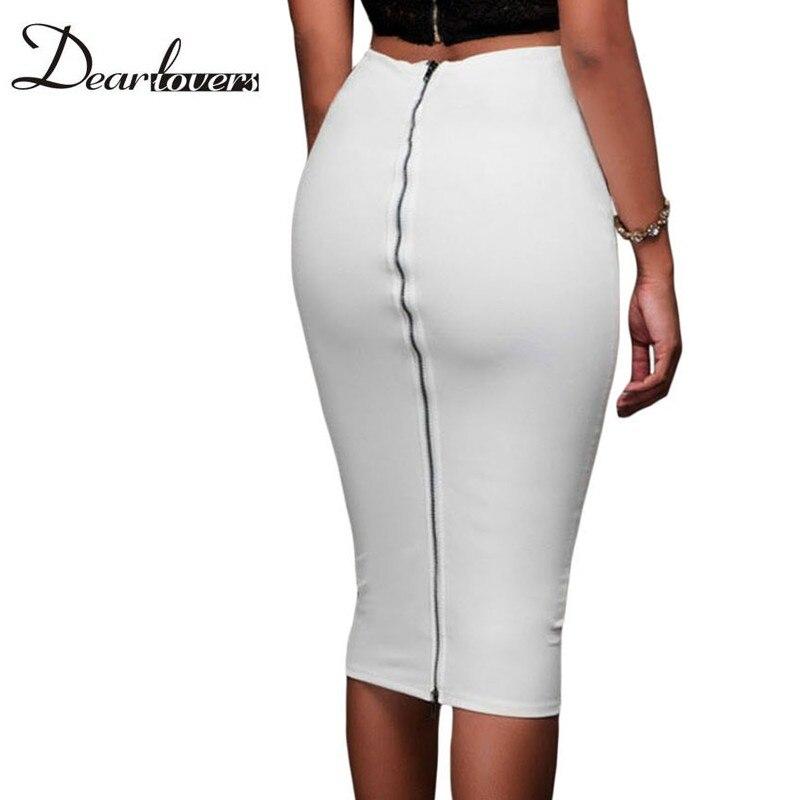 Caro amante Da Moda 2016 Mulheres Saias Lápis Escritório Branco Super Elegante Com Zíper Na Altura Do Joelho Bodycon Saia Faldas Mujer LC65009