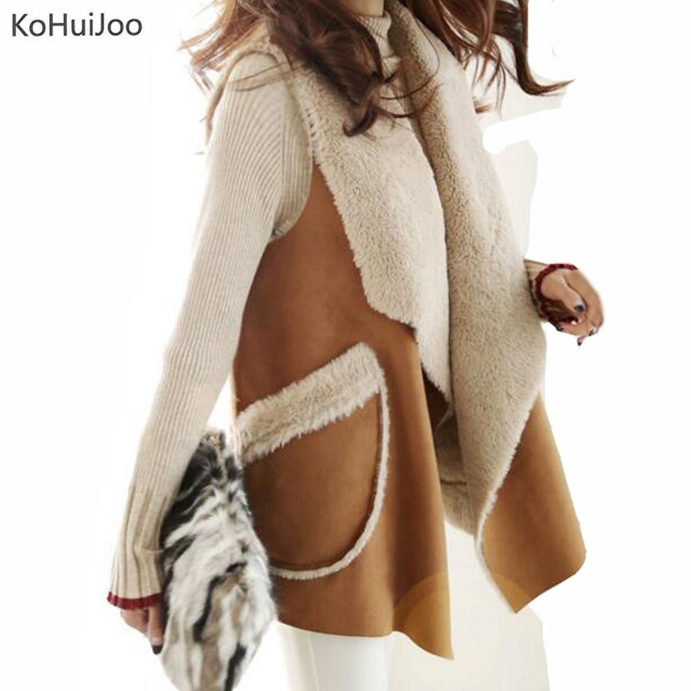 KoHuiJoo 2018 Autumn Winter Artificial Fur Vest Women Fashion Lapel Suede Faux Fur Waistcoat Long Coats Warm fur Jackets etosell women faux fox fur shaggy waistcoat long hair lapel vest coat camel l