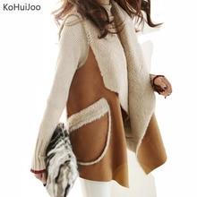 KoHuiJoo 2018 Autumn Winter Artificial Fur Vest Women Fashion Lapel Suede Faux Fur Waistcoat Long Coats Warm fur Jackets