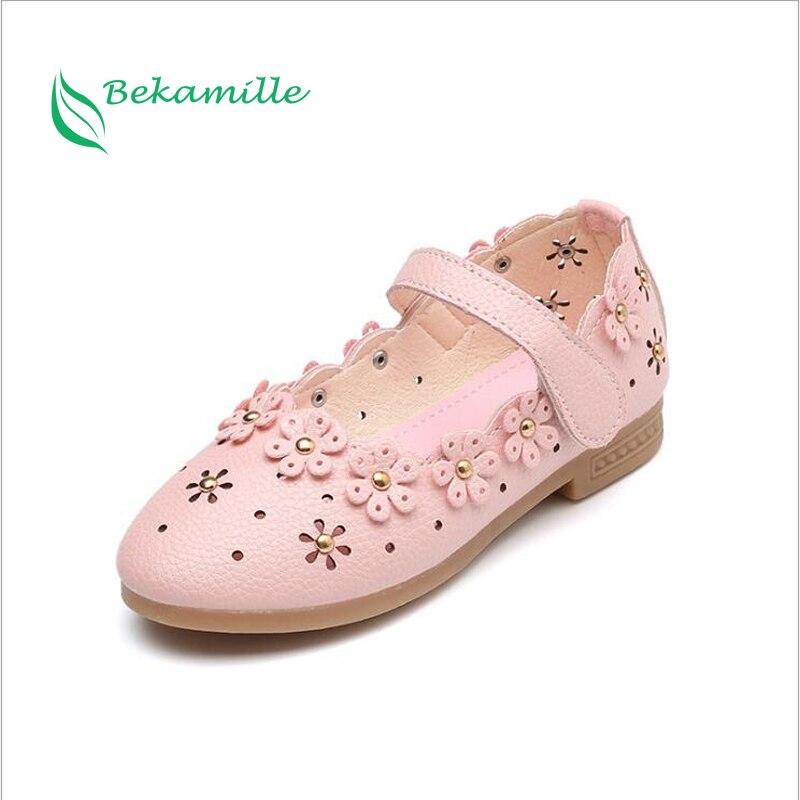 Kinder Leder Schuhe Süße Prinzessin Mädchen Baby Schuhe Ausschnitte Blume Schuhe Kinder Niet Schüler Tanzschuhe