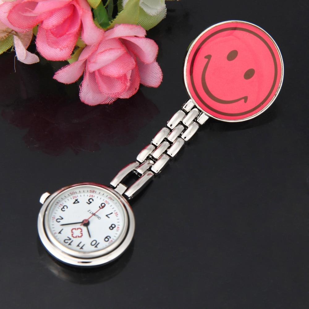 SPRAOI Brand Women's Cute Smiling Faces Heart Clip-On Pendant Nurse Fob Brooch Pocket Watch Quartz Watches Clock Relogio 533