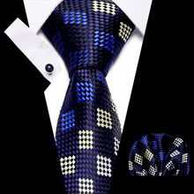 New Designer Gold Blue Geometric plaid Wedding Tie Set 100% Silk Neck Ties For Men Gift Groom Business Party