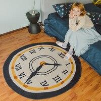 Милый творческий часы Журнальный Столик Круглый ковер исследование гостиная диван кровать, прикроватные коврики компьютерный стул подвес