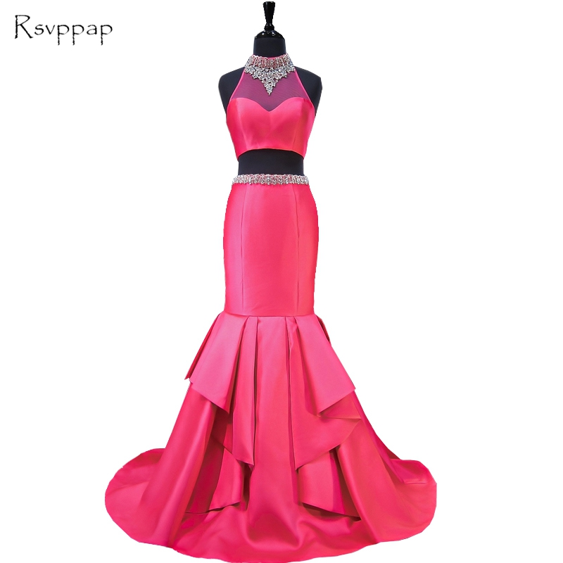 Long Prom Dresses 2017 Sheer Beaded High Neck Mermaid Floor Length Sexy African Hot Pink Two Piece Prom Dress