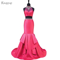 Long Prom Dresses 2018 Sheer Beaded High Neck Mermaid Floor Length Sexy African Hot Pink Two Piece Prom Dress
