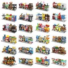 4 في 1 شارع صغير اللبنات مدينة متجر العمارة الصينية نموذج سلسلة أطفال الإبداع اللعب متوافق معظم العلامات التجارية كتلة