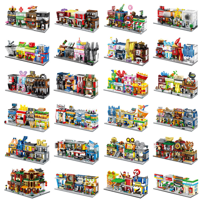 4 In 1 Mini Street Building Blocks City Shop Chinese Architecture Model Series Kids Creativity Toys Compatible Most Brands Block-in Blocks from Toys & Hobbies