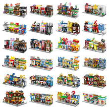 4 In 1 Mini Street Building Blocks City Shop Chinese Architecture Model Series Kids Creativity Toys Compatible Most Brands Block