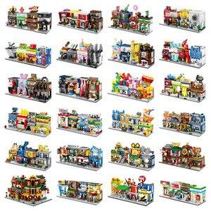 Image 1 - 4 w 1 Mini Street Building Blocks City Shop chińska architektura Model seria kreatywność dla dzieci zabawki kompatybilne większość marek Block