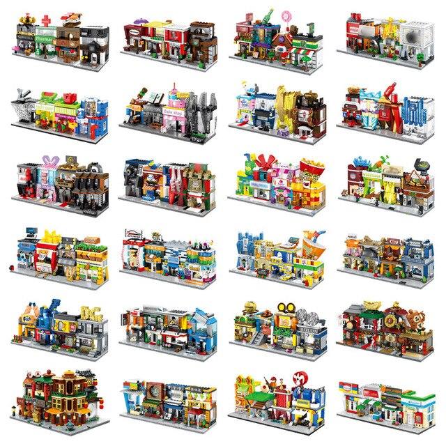 4 w 1 Mini Street Building Blocks City Shop chińska architektura Model seria kreatywność dla dzieci zabawki kompatybilne większość marek Block