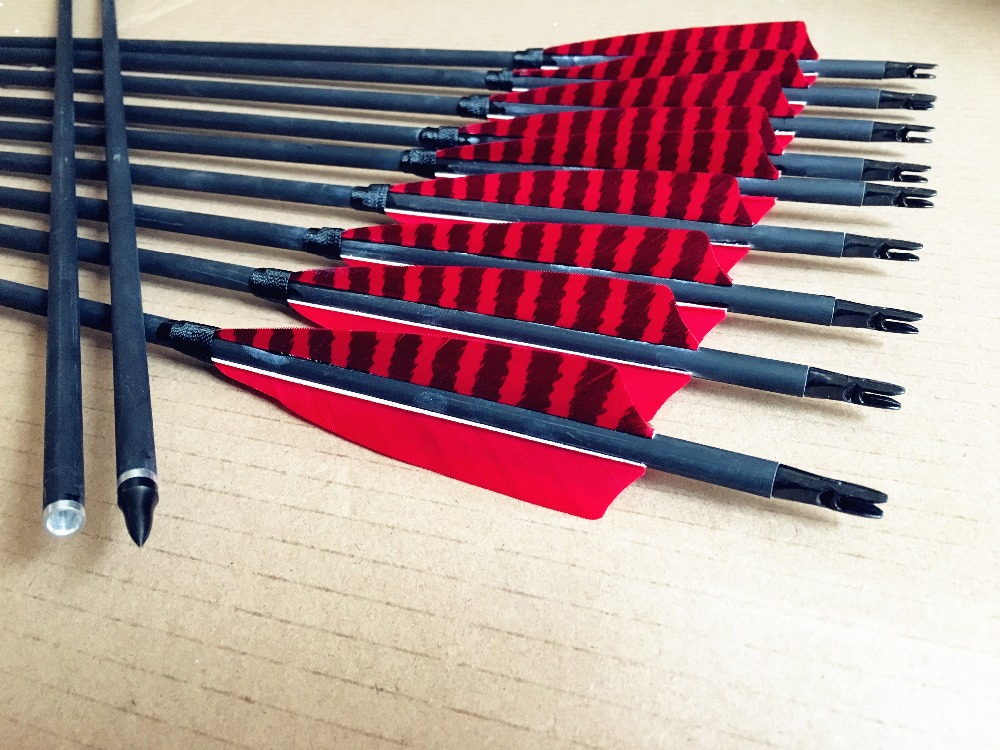 12PCS Spine400 500 600 stripe Carbon Arrows with Replaceable Arrowheads and for longbow recurve bow