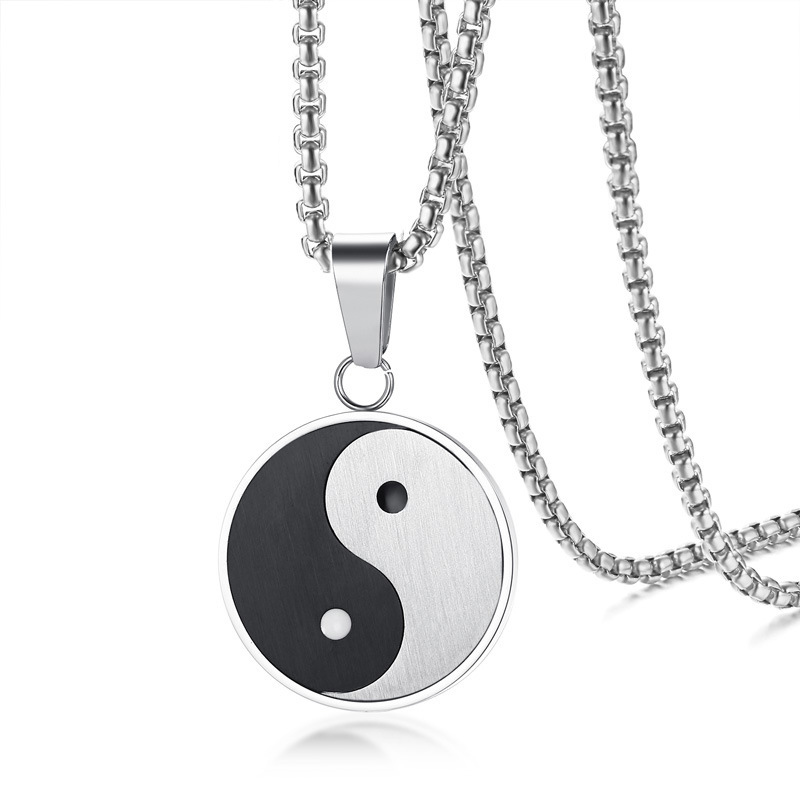 Silver Color Titanium Steel Yin Yang Tai Chi Pattern Round Pendant Necklace fo Men Women Fashion Jewelry