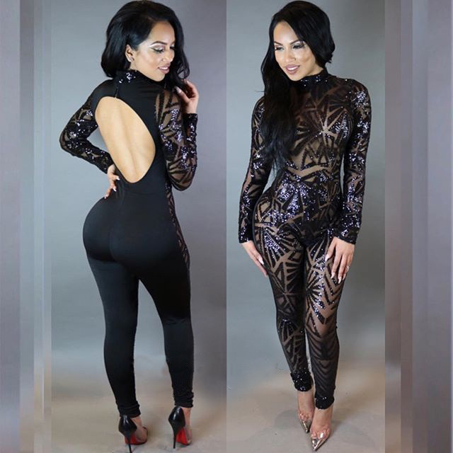 Plus Size Jumpsuits For Women 2018 Black Sequin Jumpsuit Clubwear embroidery hollow-out Body Feminino kleider damen Bayan Tuta