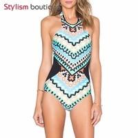 2017 New Summer One Piece SwimSuit Printed Geometry Bathing Suits Swimwear Women Bodysuit High Neck Monokini