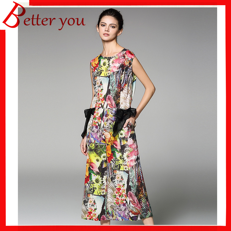2019 Summer Women's O Neck Slim Rompers Womens Jumpsuit Sleeveless Stitching Elegant Lacing Slim-fitting Print Jumpsuit