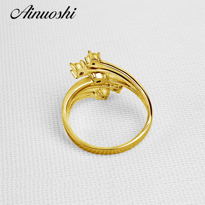 AINUOSHI 14 K Solide Gelb Gold Star Blume Ring Spezielle Design SONA Simulierte Diamant Hochzeit Engagement Cluster Ring Frauen Geschenk - 4