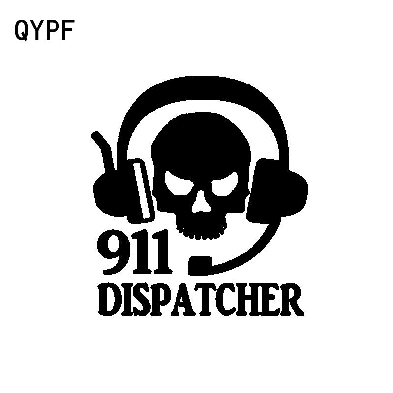 QYPF 12.3CM*13.8CM Personality 911 Dispatcher Skull Headset Vinyl Car Sticker Decal Accessories C15-3193