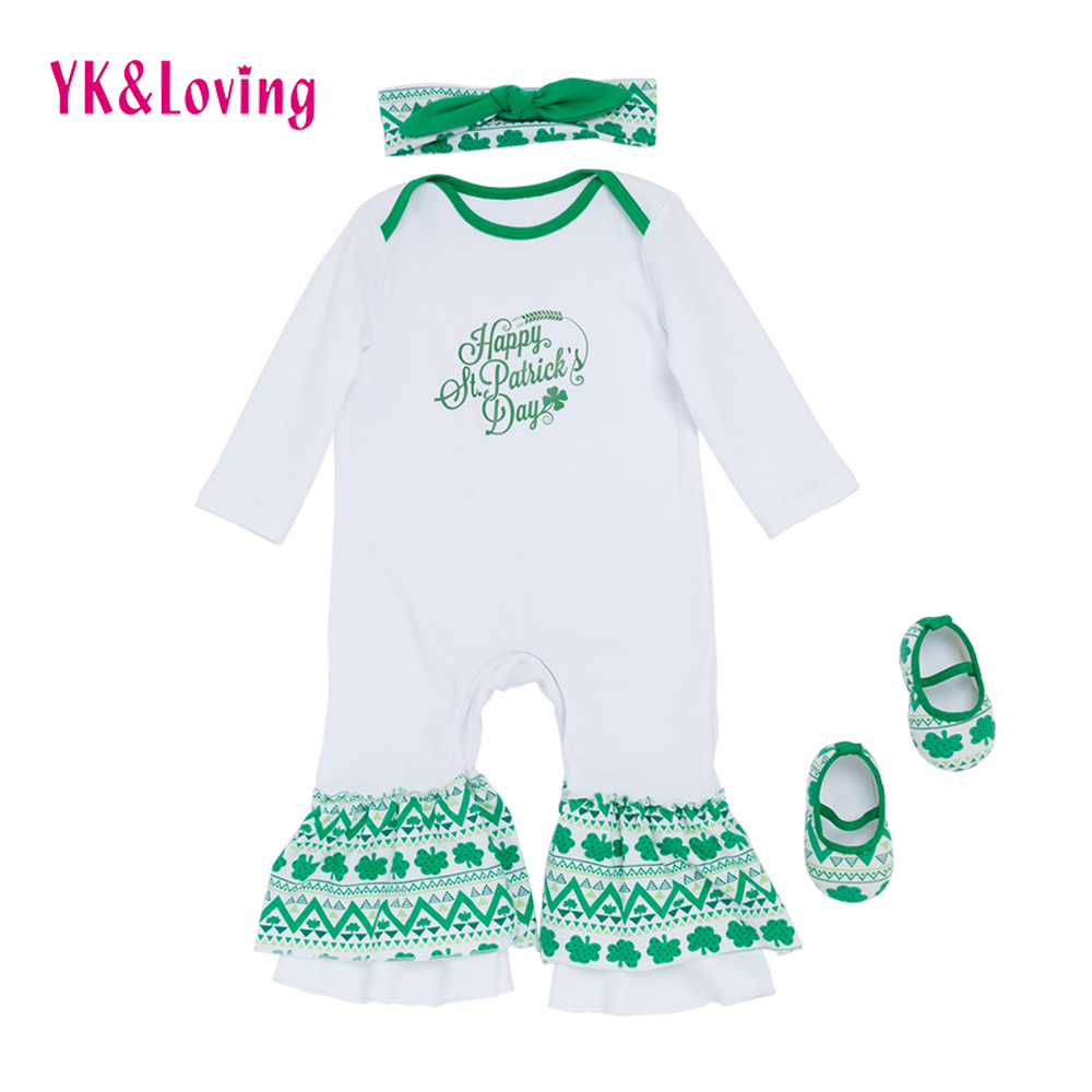 Saint Patrick's Day Newborn Baby Romper Baby Girl Long Sleeve Jumpsuit Shoes Infant Sleeper pajama Children 0-24 M girls gown