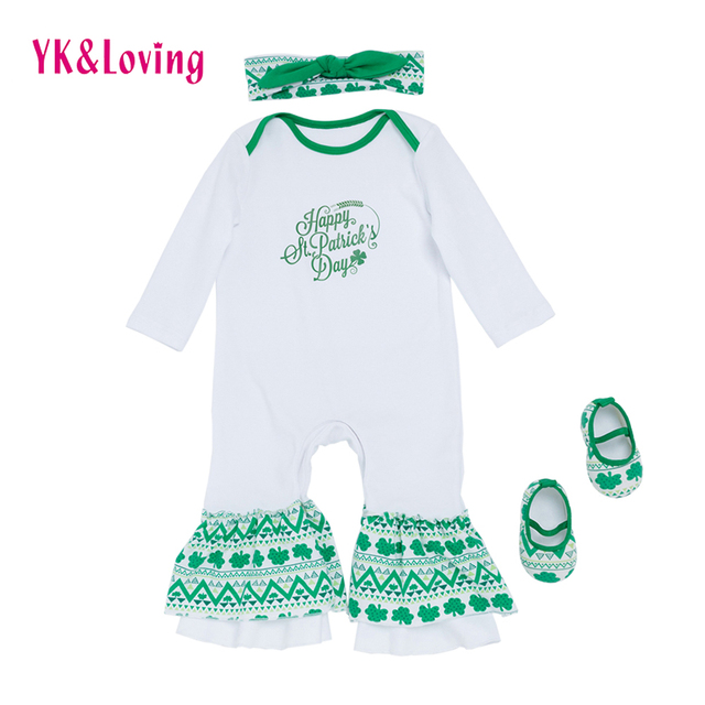 d6b129895 Saint Patrick's Day Newborn Baby Romper Baby Girl Long Sleeve Jumpsuit Shoes  Infant Sleeper pajama Children 0-24 M girls gown