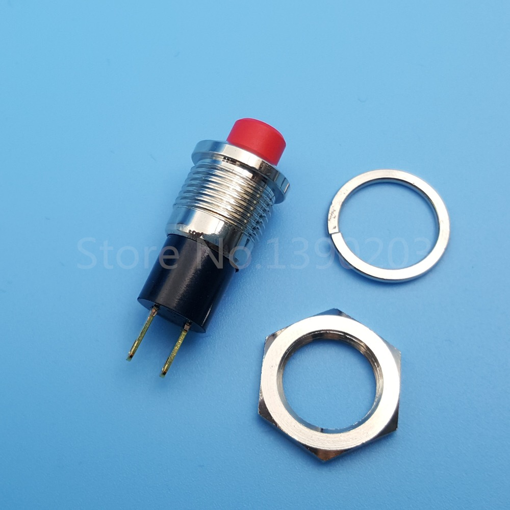 5Pcs JS 725 Red Cap 10mm 2Pin Maintained ON OFF SPST Mini Push ...
