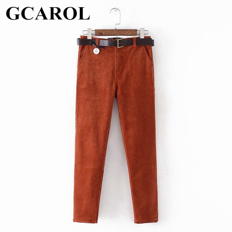 GCAROL Euro Style Harem Pants Corduroy Fashion Harem Trousers With Free Belt Stretchable High Quality Ankle Length Pants