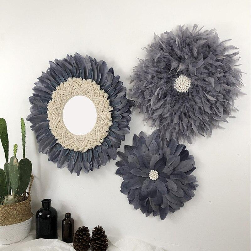 27-55 cm créatif à la main tapisserie plume verre miroir Art décoration miroir rond salon tenture murale miroir R1642