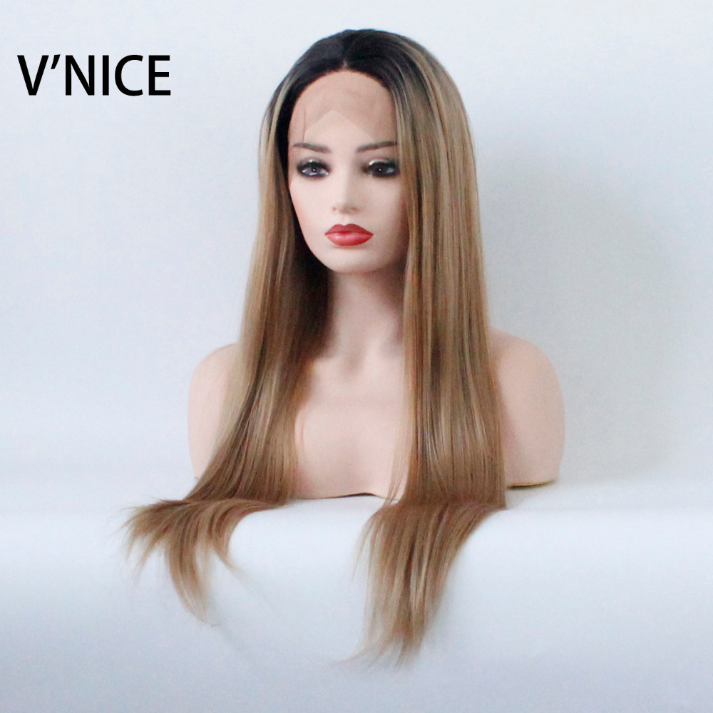 VNICE Ombre Blonde Synthetic Lace Front Wigs Dark Roots Two Tones Color Heat Resistant Fiber Long Straight Hair 1B/27 Color