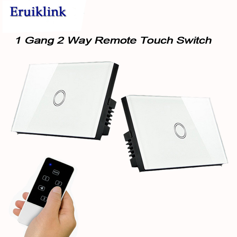 US Standard 1 gang 2 way Remote Control Light Switches, Wireless Control Wall Touch Switch for RF433 Smart Home+LED Backlight smart home eu touch switch wireless remote control wall touch switch 3 gang 1 way white crystal glass panel waterproof power