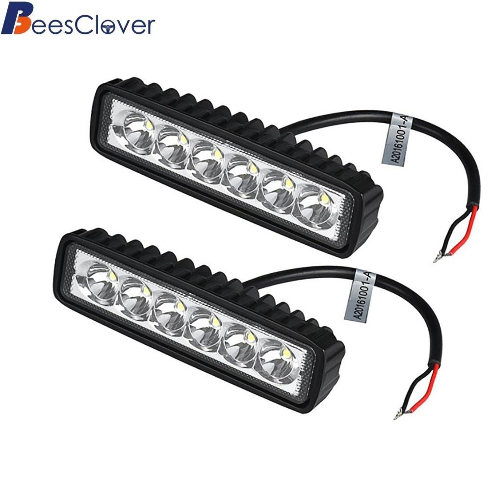 BEESCLOVER 2Pcs/Lot 18W LED Work Light Bar Car Truck Boat Driving Lamp Off-road SUV Spot Daytime Running Lights Universal z30