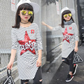 Long Striped T-Shirts For Girls Clothing Children Tops Star Letter Girls Tees Spring Autumn Full Sleeve Girls Dresses 5 7 9 11Y