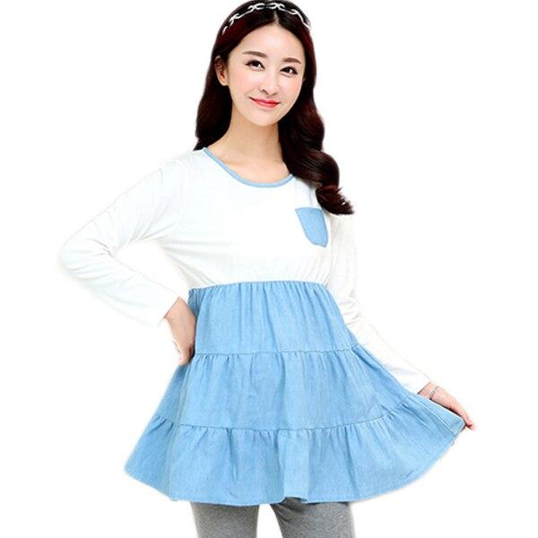Хлопок T - рубашки для беременных женщины в одежда для беременных блузы рубашки беременность одежда для беременных топы