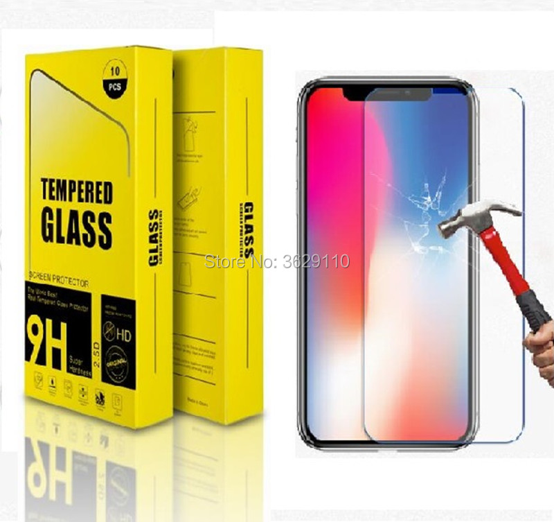 100 Pcs/Lot 2.5D 9H Premium Tempered Glass For iPhone X Screen Protector Toughened protective film For iPhone 7 8 7/8 plus