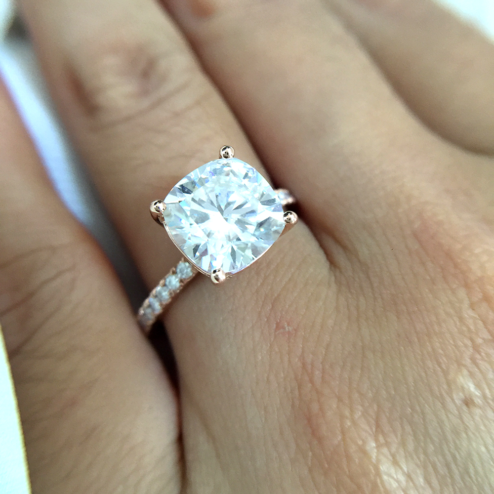 3 5 Carat Ct Cushion Cut Engagement Wedding Moissanite Diamond Ring Double Halo Ring Genuine 14k 585 Rose Gold