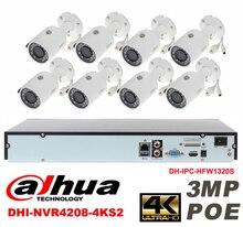 Dahua original 8CH 3MP H2.64 DH-IPC-HFW1320S 8pcs bullet IP security camera POE DAHUA DHI-NVR4208-4KS2 Waterproof camera kit