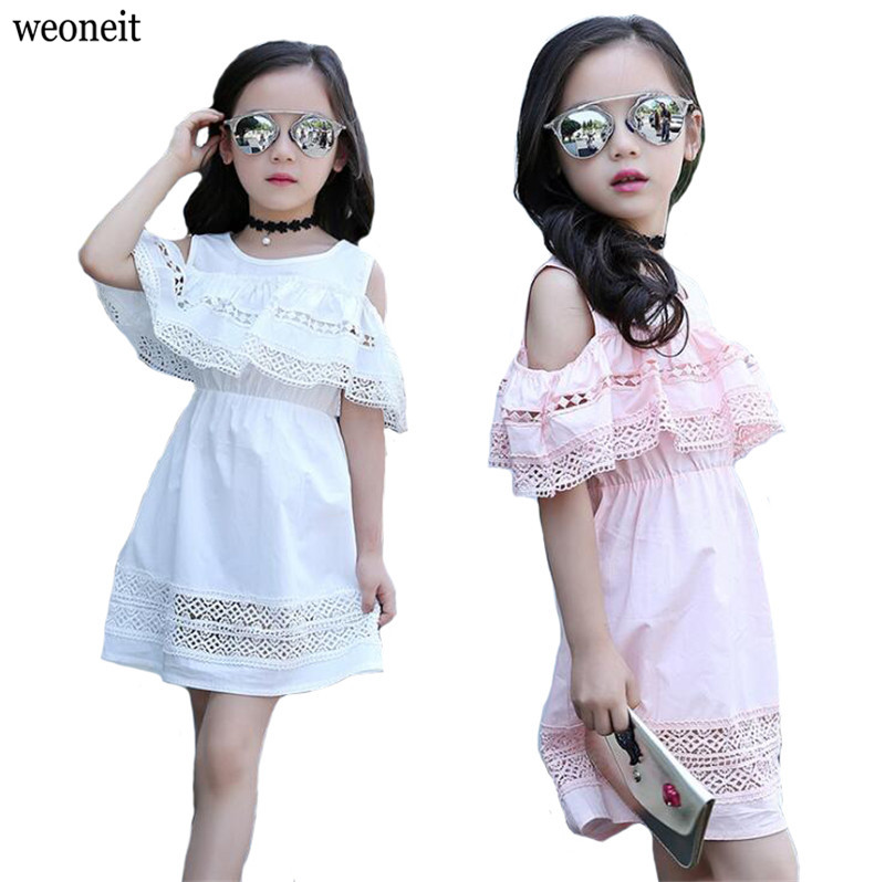 Weoneit Girls Off Shoulder Dress 2018 Summer Lace Dress With Sleeves