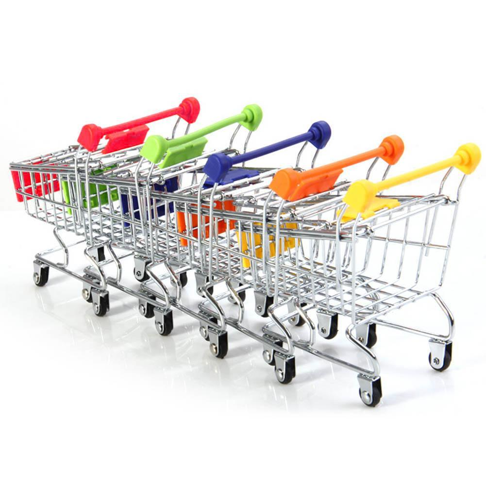Mini Stainless Steel Handcart Supermarket Shopping Kids Toys Utility Cart Mode Storage Toy Phone Food Holder Cute Gift For Kids