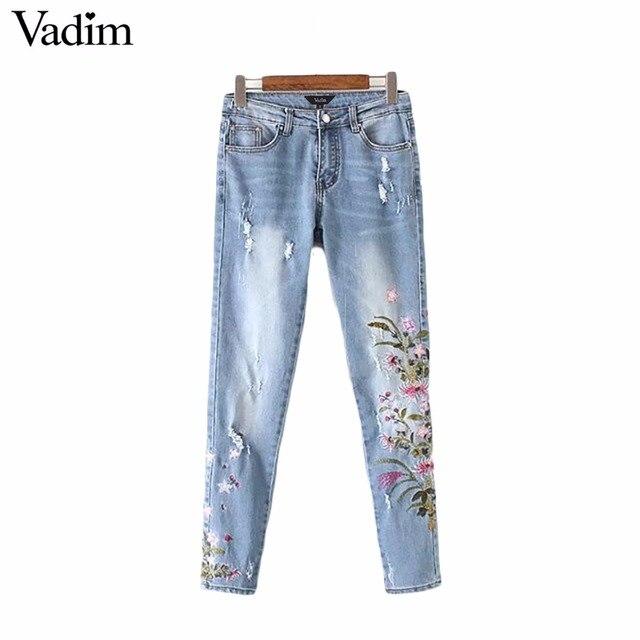 Vadim mujeres vintage floral bordado agujeros denim vaqueros tobillo-longitud pantalones señoras casual marca pantalones KZ987