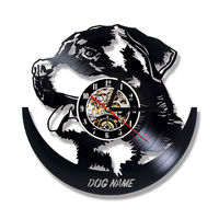 Animal Wall Clock Modern Design DIY Your Dog Name Clocks Vintage Retro Vinyl Record Wall Watch 3D Stickers Silent Home Decor